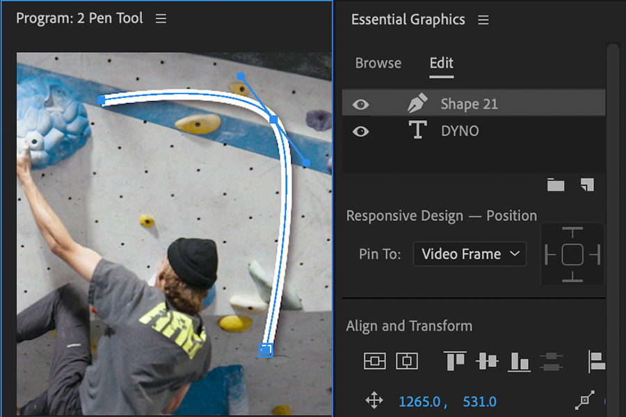 Adobe Premiere Pro Essental Graphics Pen Tool
