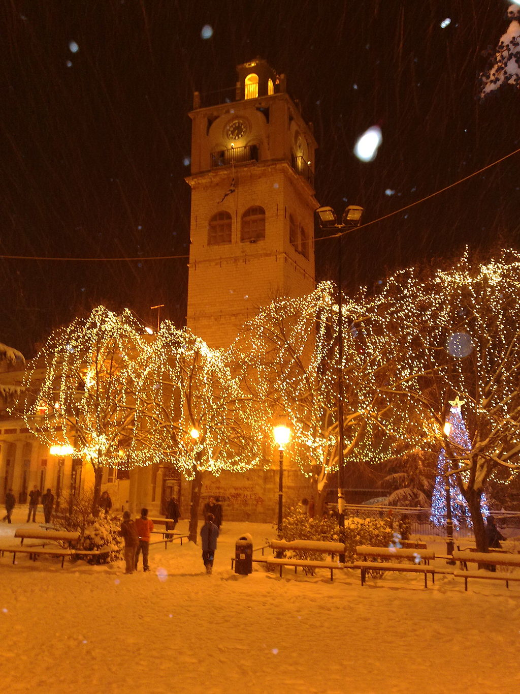 Fairy lights create a bucolic glow in Kozani, in a photograph by Wikipedia user Makedonas. Modern ones may be LEDs_ its hard to tell here