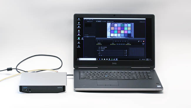 AJA Io 4K Plus connected to a Dell  Precision 7720, displaying live 2160p25 pictures