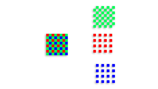 A single-chip colour camera has red, green and blue filters on its sensor. This results in different spacing for the red and blue filters as compared to the green