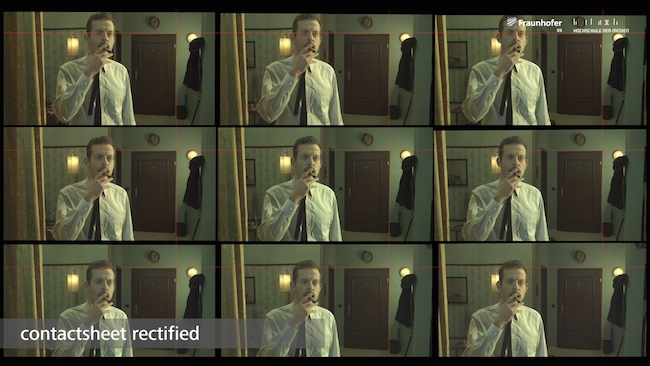 A test short was produced with  Fraunhofer's nine-camera array. Here we see the nine unprocessed  images