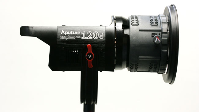 Aputure's COB-120 can be comfortably powered by most conventional camera batteries