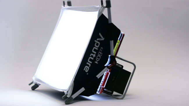 Aputures softbox only increases the size of the light very slightly but works well enough within that