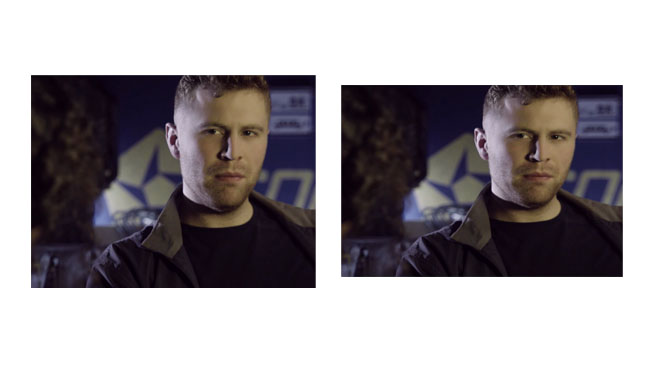 At left, a conventional standard definition image. At right, the same image as stored in an 525-line video file. Even 4 by 3 is amorphic_1