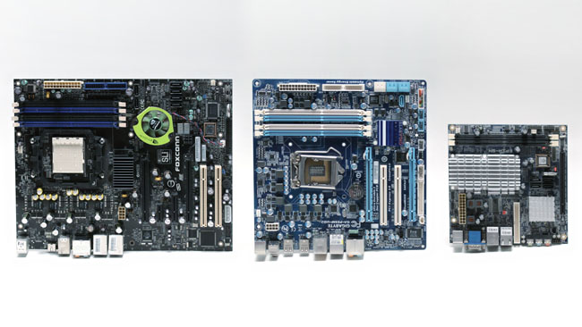 Common motherboard sizes. L-R -  ATX, Micro-ATX, Mini-ITX. The widest board is about a foot across