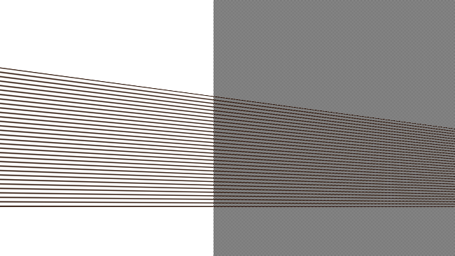 Converging horizontal lines alias in the same way - but the result also creates curved moiré patterns, because of the regular spacing of the lines