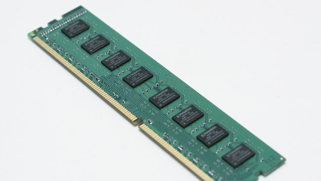 ECC memory usually has one more  chip on it, for a total of nine rather than eight, but it'll be advertised  as such