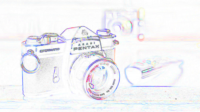 Fuji (blue) and Canon (red) images  with edge detection, overlaid. Red shows where the Canon does not precisely  align with the Fuji. The two images are highly congruent.png