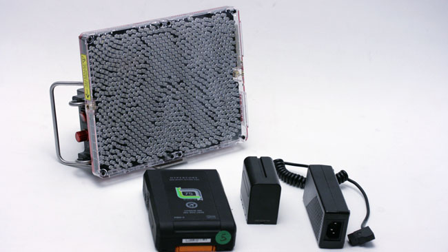 Included accessories allow the light to be run from Sony NP F batteries mains or full size camera batteries