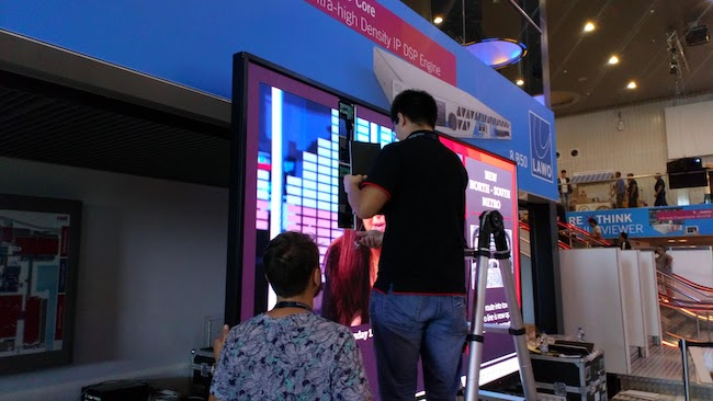 LED video walls are now so ubiquitous they're being used for temporary advertising hoardings at exhibitions. Here being assembled in modules.jpg