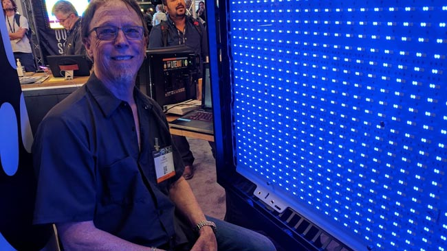Litegear's Lee Parker with their  retrofit LED board for the Kino-Flo Image series