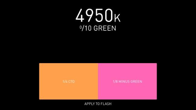 Lumu Pro flash colour temperature