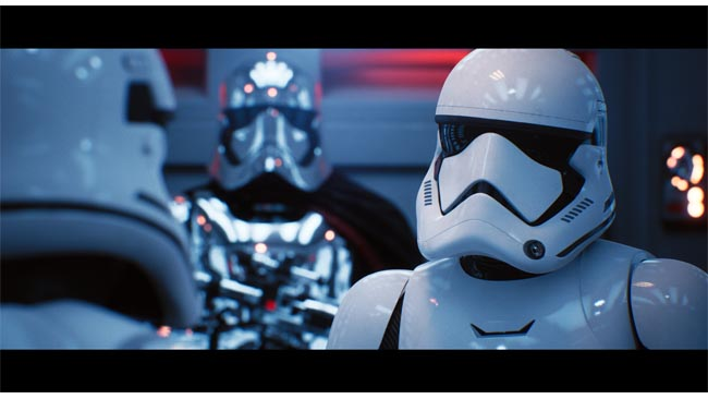 Nvidia's RTX technology, here  running on an extremely high-end system, uses at least some raytracing to  produce a Star Wars-themed scene. Courtesy Nvidia.JPG