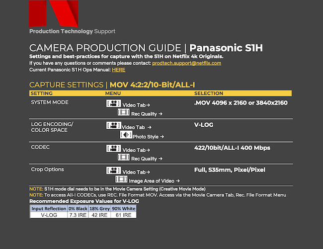 These are the Netflix Panasonic Lumix DC-S1H camera settings recommendations