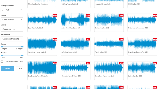 The Audioblocks UK showing waveform displays of clips available to download