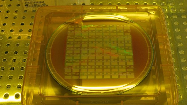 Sensors on silicon wafer courtesy  Dave Gilbolm - Alternative Vision Corporation