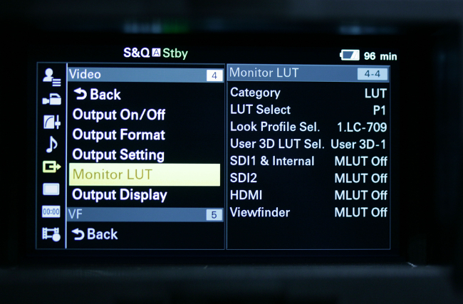 Sony's FS-7 can handle both  technical and creative LUTs. Here, the LC.709 selection indicates that the  camera will output images intended for a Rec. 709 display, leaning toward  lower contrast