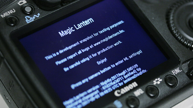 The Magic Lantern software resides on a flash card. The camera can be started conventionally simply by using a card without the software on it