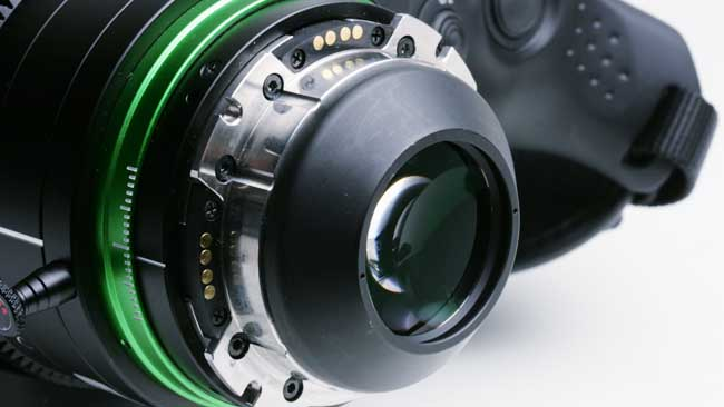 The PL mount, here on a Fujinon XK6x20, is sturdy, but has a very long flang focal distance. Notice the big black cone sticking out the back to place the rear element close to the sensor.JPG