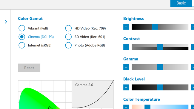 The UHD display option covers the  full Adobe RGB colourspace, with options to switch to several other useful  modes
