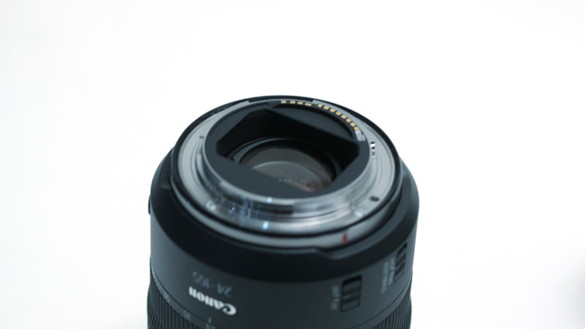 The rear elements of the RF 28-105  zoom are closer to the sensor than an EF mount lens could manage, which  eases some concerns in lens design.JPG