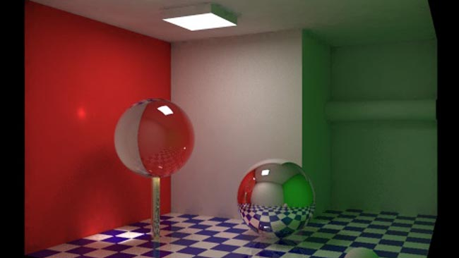 This image, rendered by Grzegorz  Tanski, is the canonical example of global illumination. Notice that the  coloured walls cast their colour onto the floor and ceiling.jpg