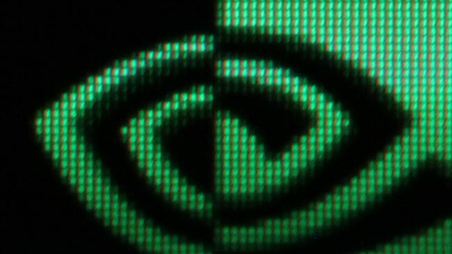 This is a closeup of the Nvidia  logo on the taskbar. On a seventeen-inch display, UHD pixels are completely  invisible even at short viewing distances