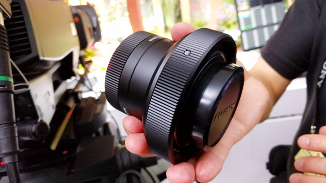 This is the device which mounts  conventional B4-mount lenses to Sony's 1.25-inch-chip, 8K camera