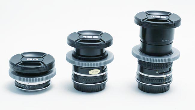 Three of the five Nikon Series E primes The gears are an add-on Consistent focus gear positioning is something we sacrifice at the altar of affordability.JPG