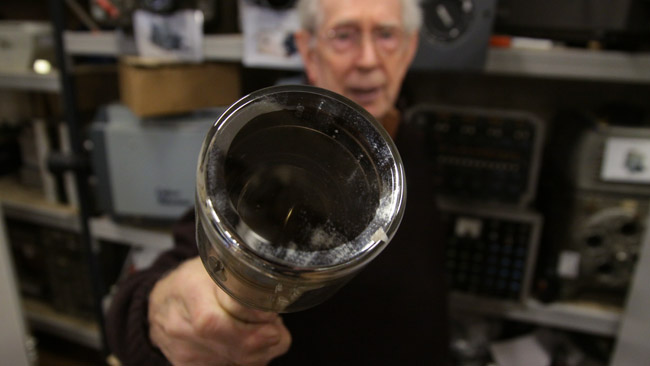 Volunteer Martyn Clarke brandishes  the enormous four-and-a-half inch Image Orthicon tube