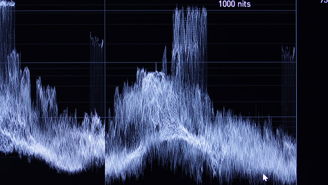 Waveform displays optionally read out in nits or code values.JPG
