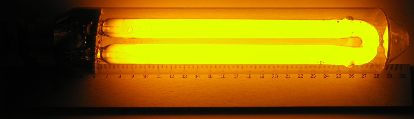Its hard to get a photo of a low-pressure sodium (or SOX) lamp without being dazzled by it, so thanks to Wikipedia user Proto02 for this image
