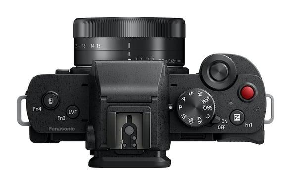 Top view of the Panasonic Lumix G100 vlogging camera. Image: Panasonic.