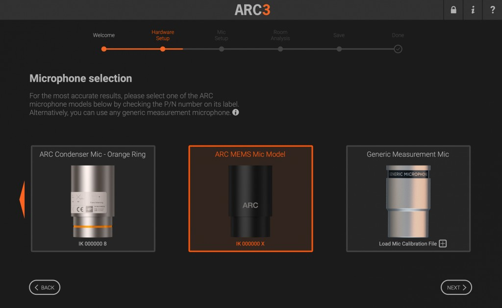ARC 3 Microphone Selection