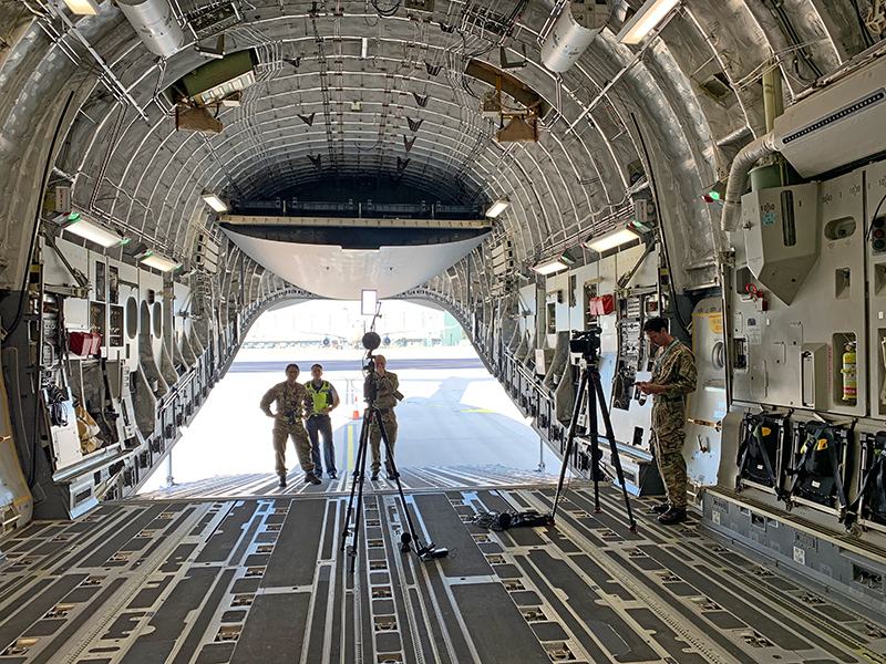 360 filming inside a C-17 aircraft hold. Image: Copyright RAF Media Reserves.