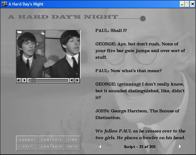 Interacting with A Hard Day's Night CD-ROM.