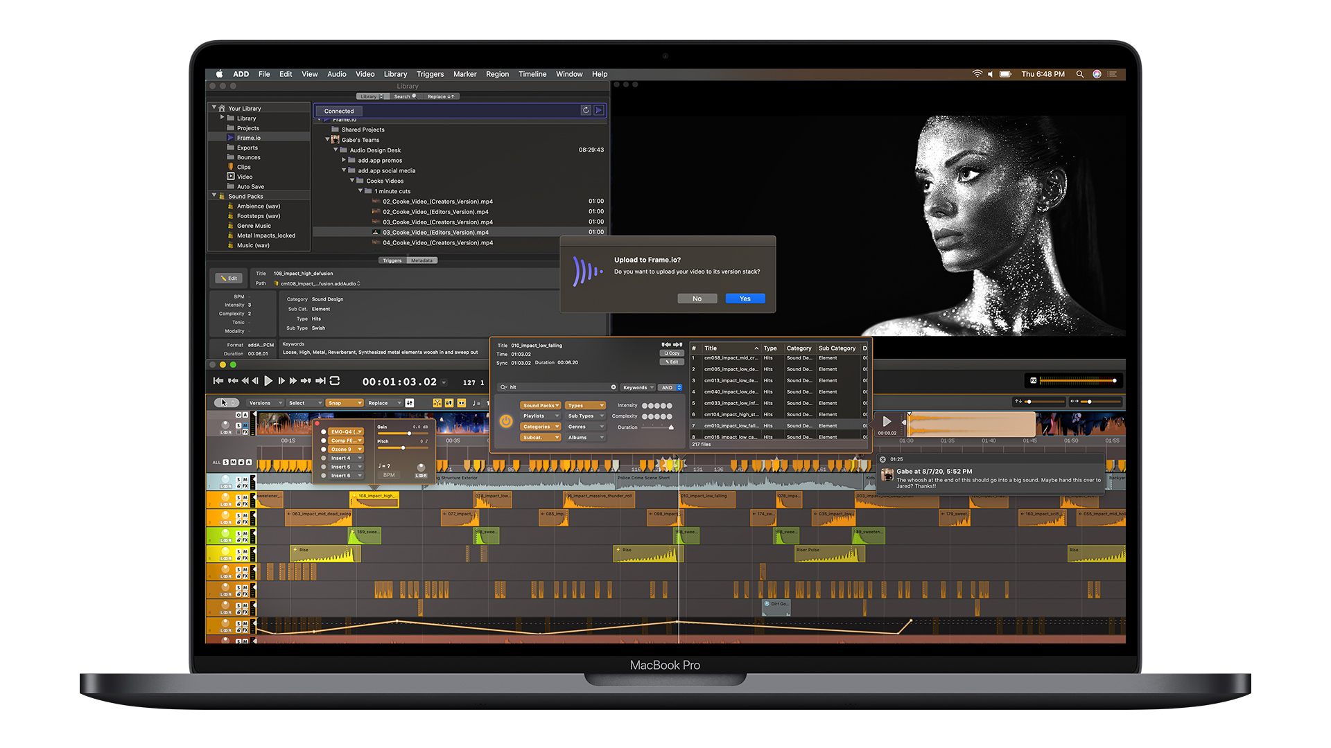 Audio Design Desk now integrates with Frame.io. Image: Frame.io.