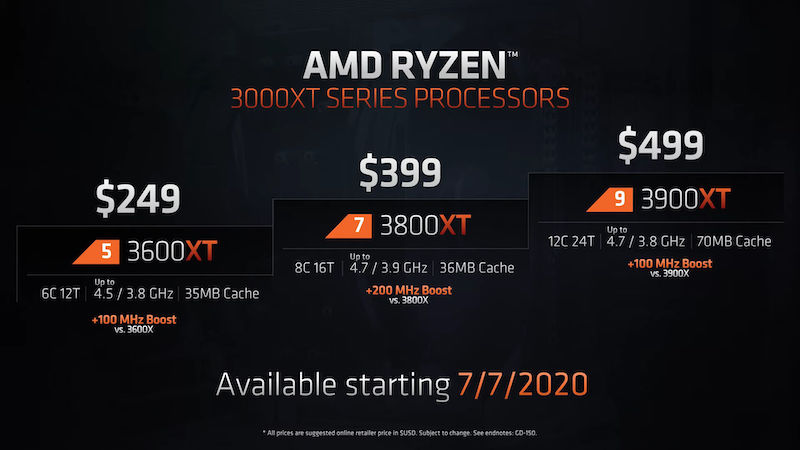 New AMD XT CPU series lineup.