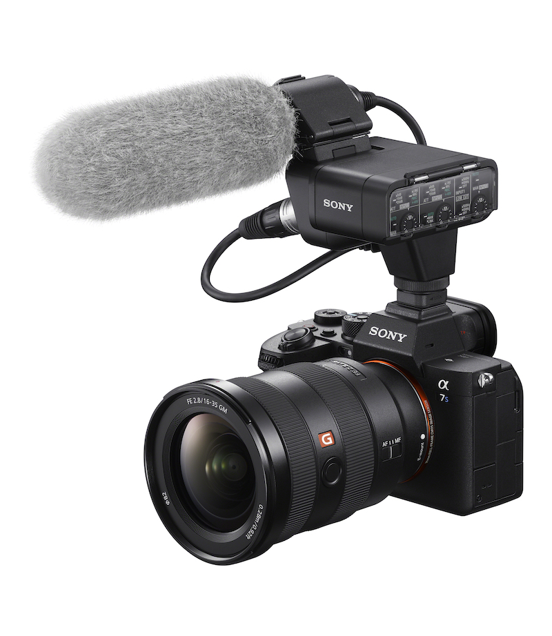 The Sony A7sIII with the XLR-K3M audio adaptor. Image: Sony.