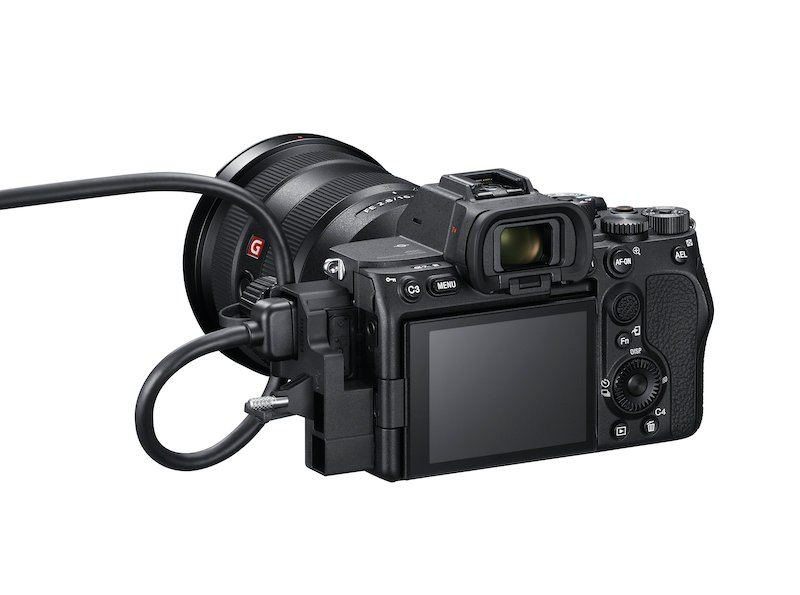 The Sony A7sIII with cable protector attached. Image: Sony.