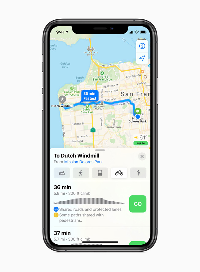 Maps in iOS14. Image: Apple.