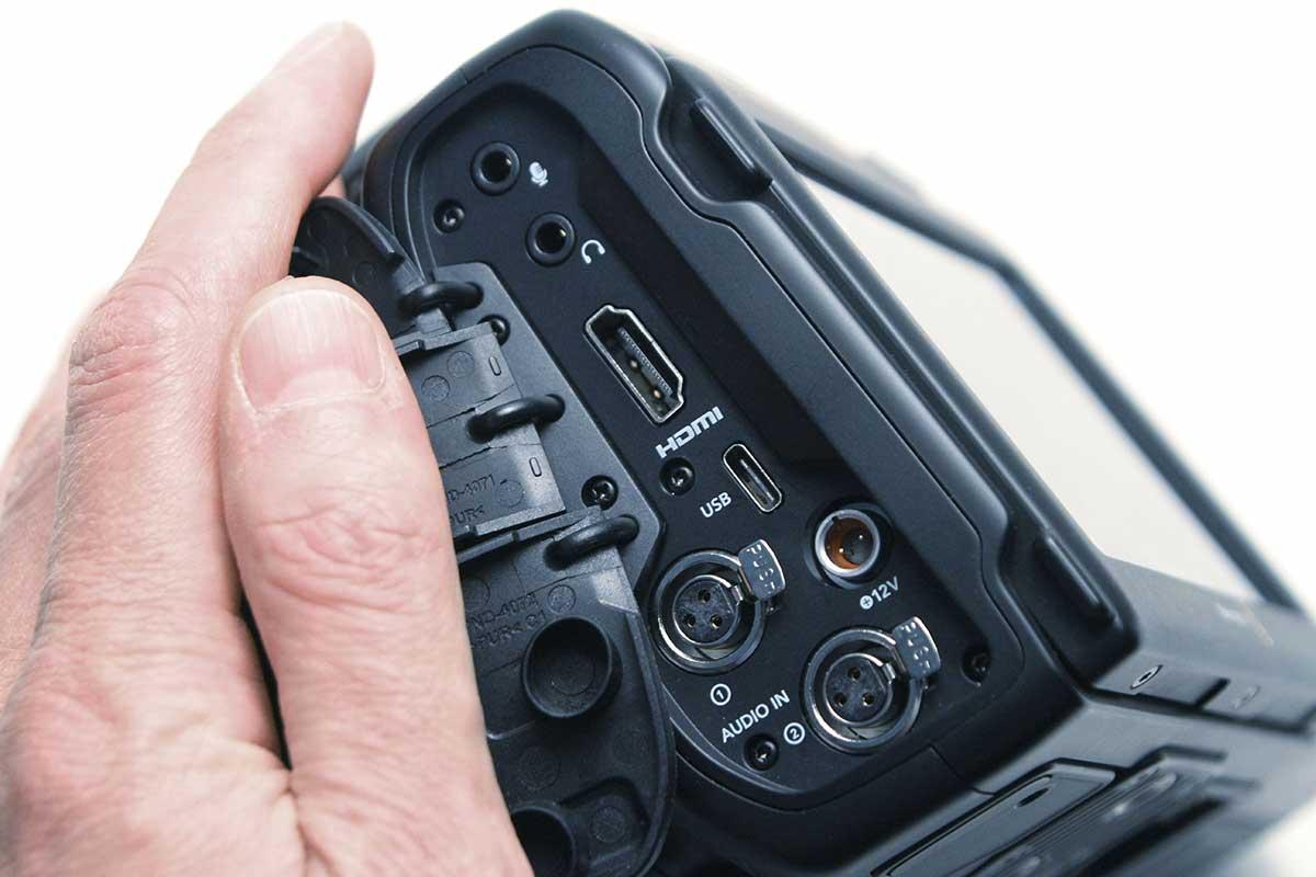 BMPCC 6K Pro locking power connector.