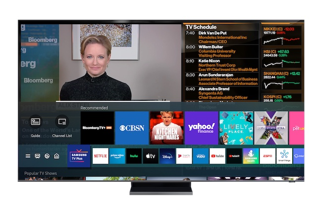 Bloomberg TV+ on Samsung televisions. Image: Bloomberg.