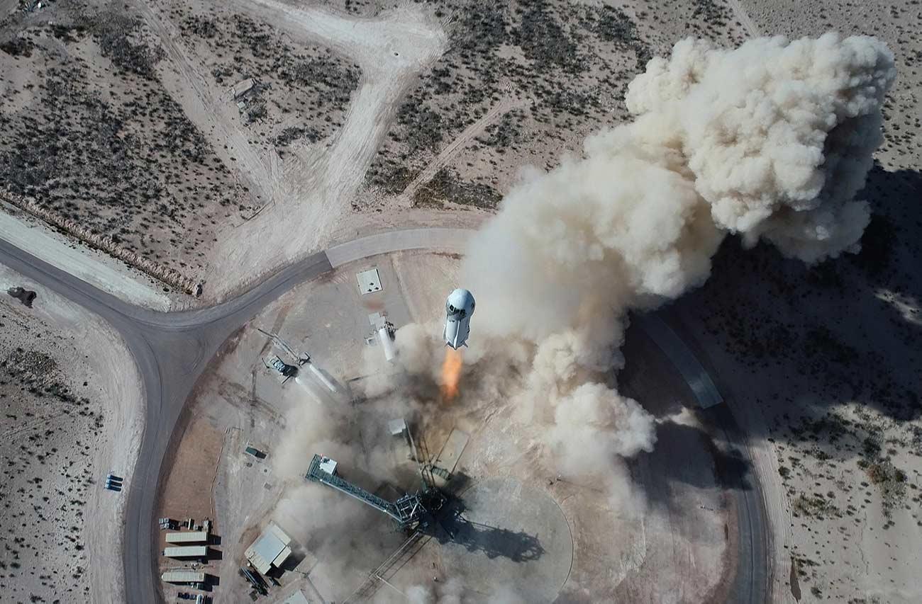 Blue Origin NS14 launch drone.