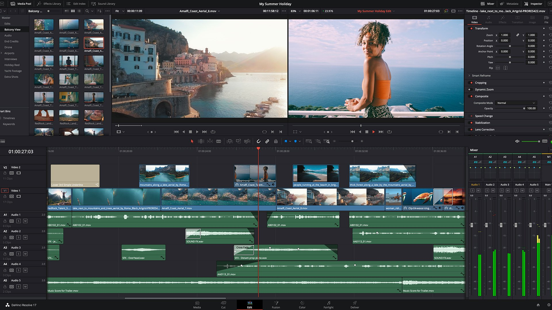 DaVinci Resolve 17 Edit page. Image: Blackmagic Design.