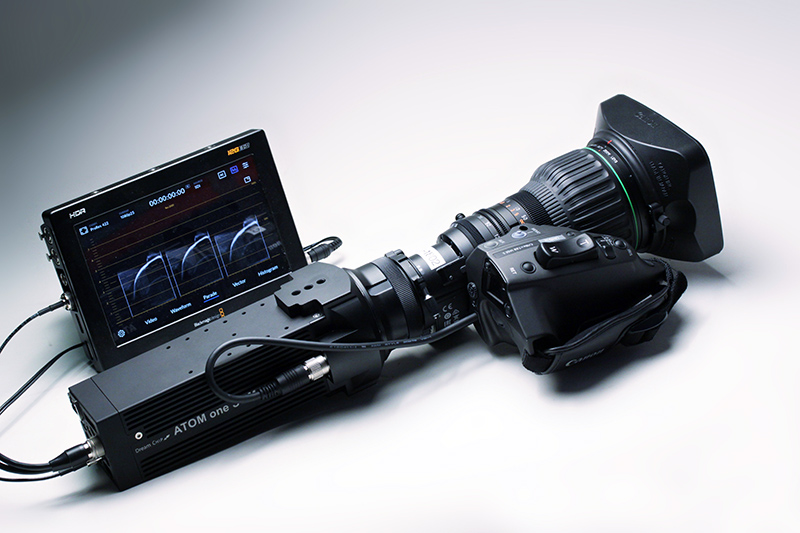 DreamchipAtom One SSM500 camera with Canon CJ18ex7.6 lens and Blackmagic Video Assist 12G.