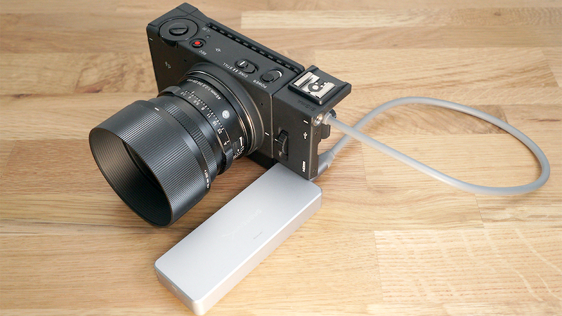 The Sigma fp hooked up to an external SSD