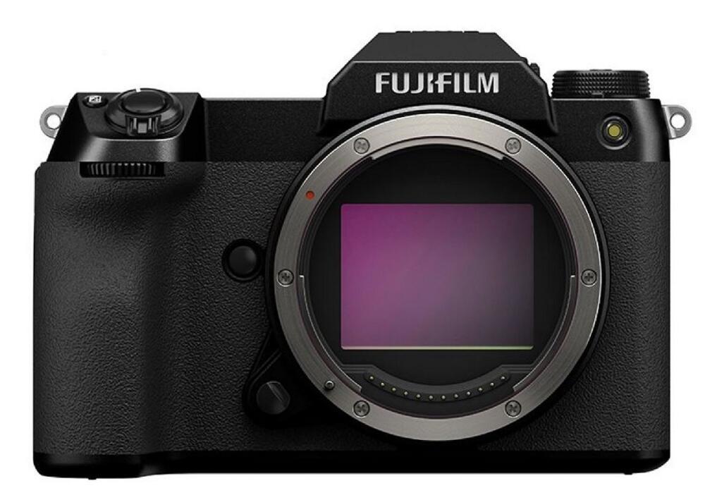 Fujifilm GFX100S front view and sensor. Image: Fuji.