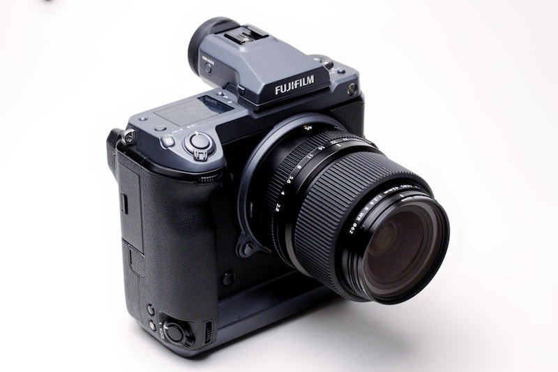 Fujifilm GFX100 medium-format mirrorless camera with GF 45mm f2.8 WR lens