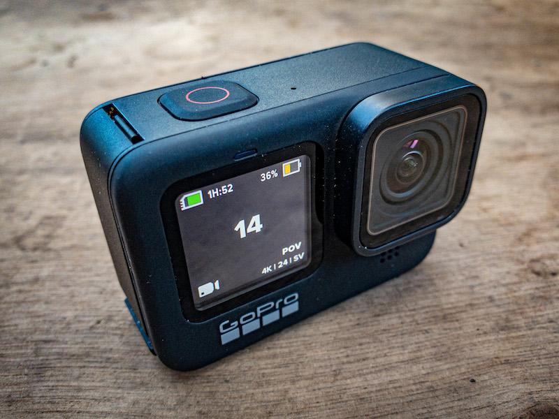 GoPro HERO9 showing the new front screen.